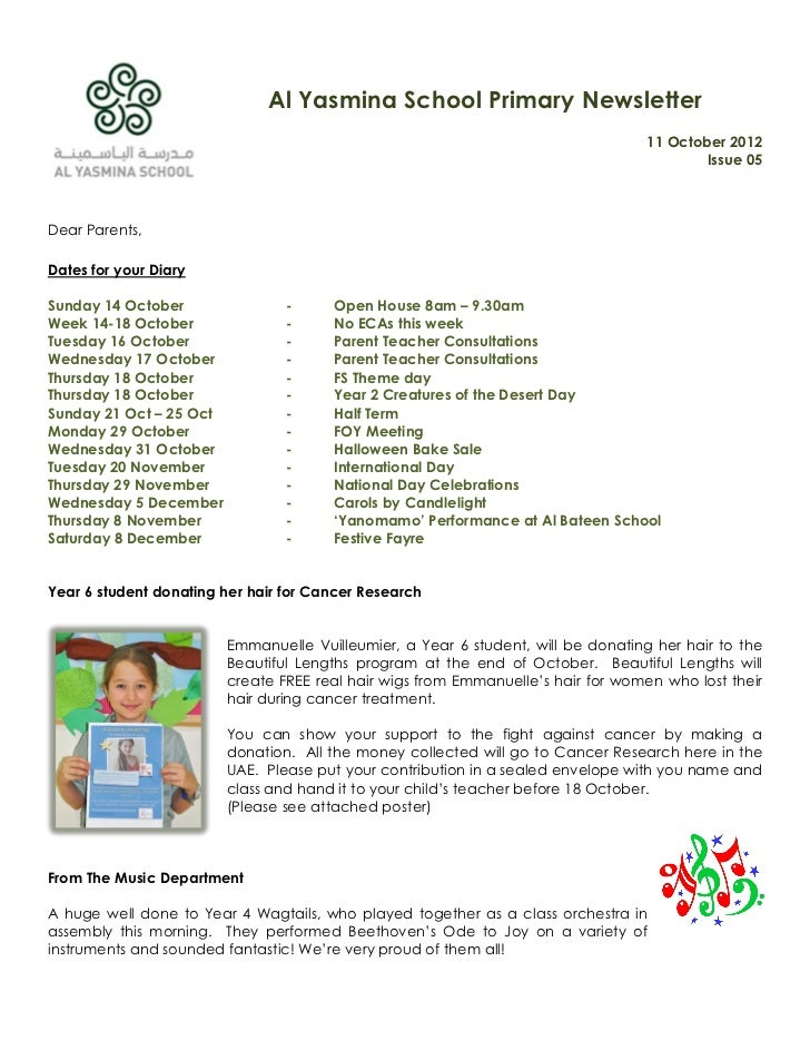 Al Yasmina School Primary Newsletter                                                                                  11 O...