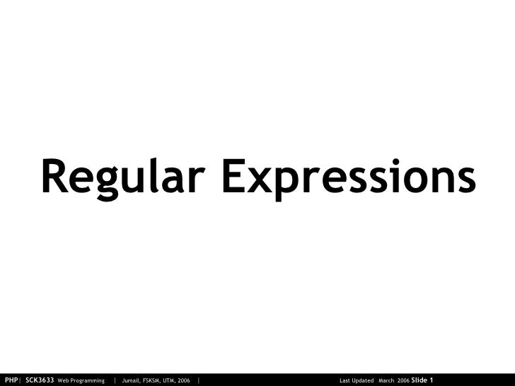 05 Php 03 Regular Expressions