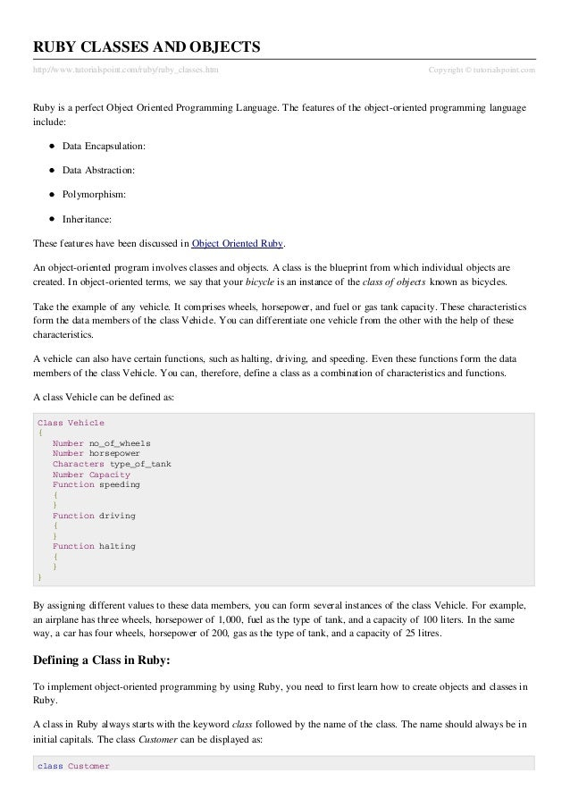 RUBY CLASSES AND OBJECTShttp://www.tutorialspoint.com/ruby/ruby_classes.htm                                             Co...