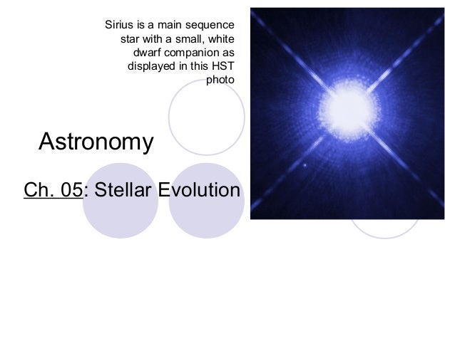 Astronomy Ch. 05: Stellar Evolution Sirius is a main sequence star with a small, white dwarf companion as displayed in thi...