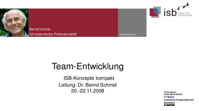 Bernd Schmid Isb systemische Professionalität  www.isb-w.eu  Team-Entwicklung ISB-Konzepte kompakt Leitung: Dr. Bernd Schm...