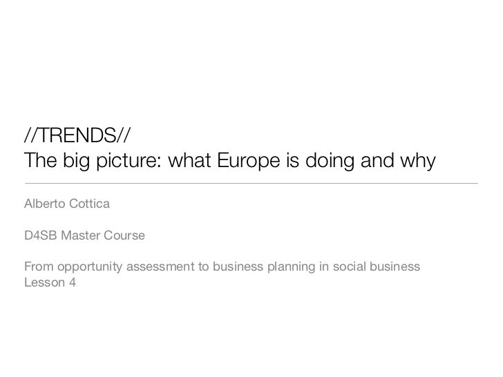 //TRENDS//The big picture: what Europe is doing and whyAlberto CotticaD4SB Master CourseFrom opportunity assessment to bus...