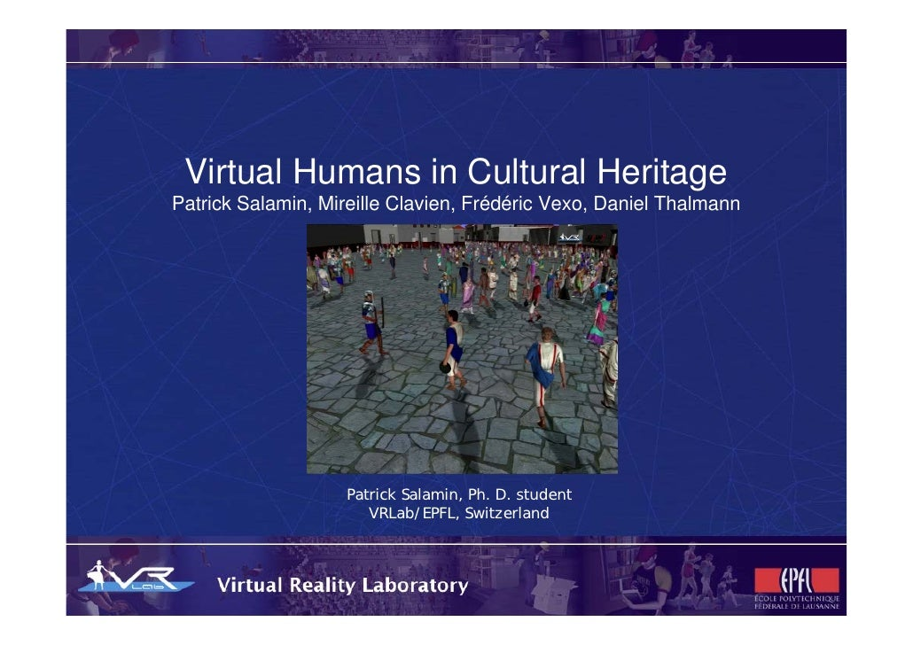 Virtual Humans in Cultural Heritage