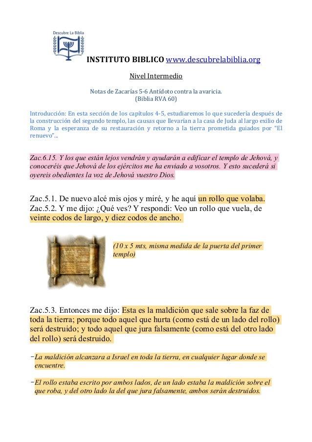 INSTITUTO  BIBLICO  www.descubrelabiblia.org Nivel  Intermedio Notas  de  Zacarías  5-‐6  Antídoto  contr...