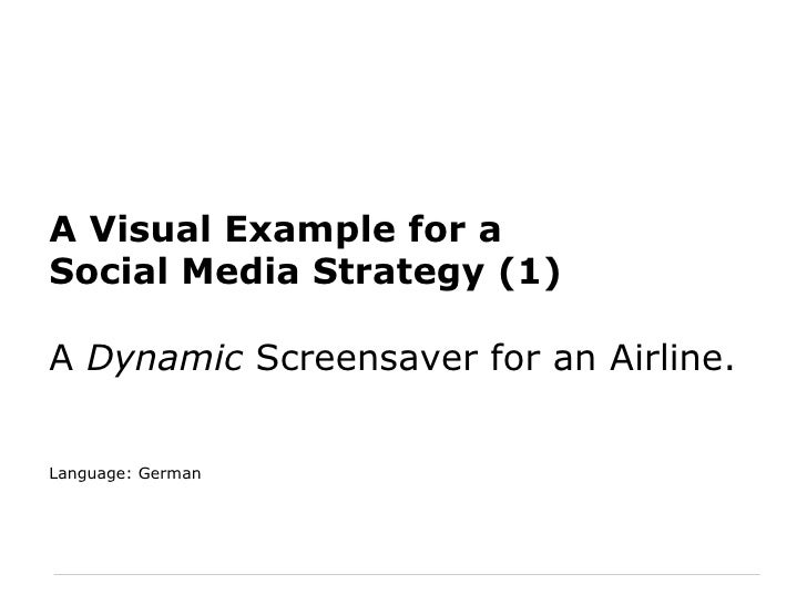 A Visual Example for a Social Media Strategy (1) A  Dynamic  Screensaver for an Airline. Language: German