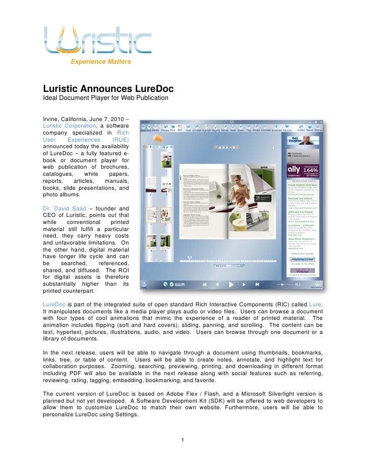 Luristic Announces LureDoc - Ideal Document Player for Web Publication