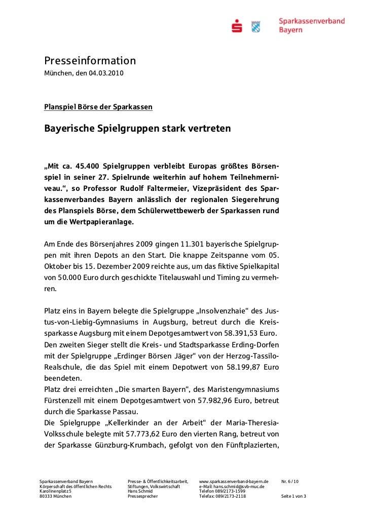 """Presseinformation  München, den 04.03.2010  Planspiel Börse der Sparkassen  Bayerische Spielgruppen stark vertreten  """"Mit ..."""