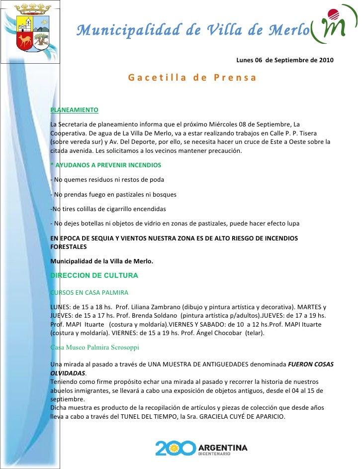 Municipalidad de Villa de Merlo                                                                  Lunes 06 de Septiembre de...