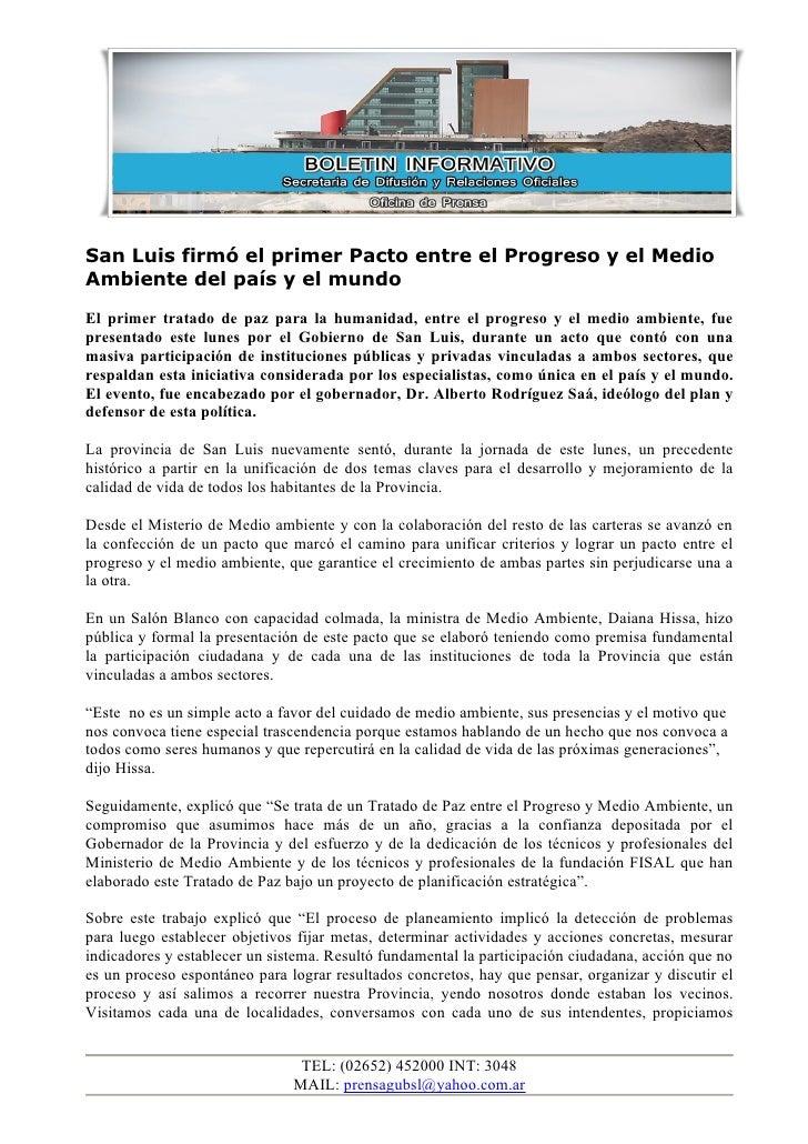 San Luis firmó el primer Pacto entre el Progreso y el Medio Ambiente del país y el mundo El primer tratado de paz para la ...