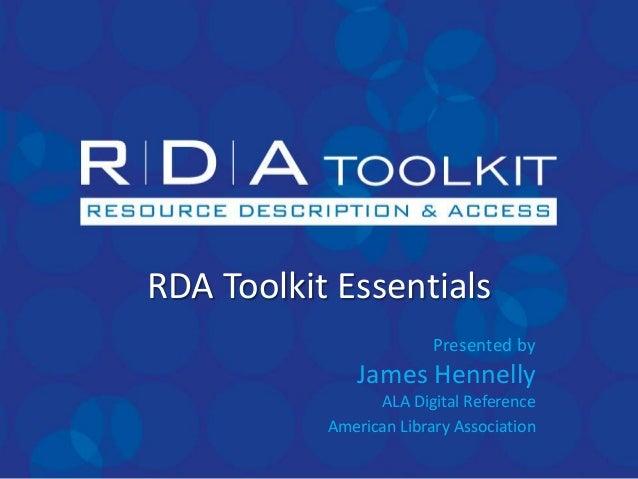 RDA Toolkit Essentials 2013.06.11