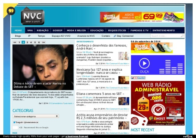 HOME VMA REDAÇÃO GOSSIP MODA E BELEZA EDUCAÇÃO ESQUISITICES FAMOSOS E TV ENTRETENIMENTO  Blogs IP Tempo Espaço AO VIVO Anu...