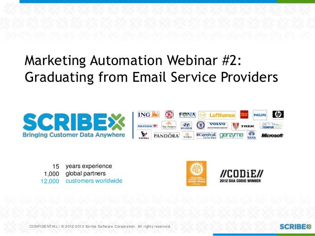 CONFIDENTIAL | © 2012-2013 Scribe Software Corporation. All rights reserved.Marketing Automation Webinar #2:Graduating fro...