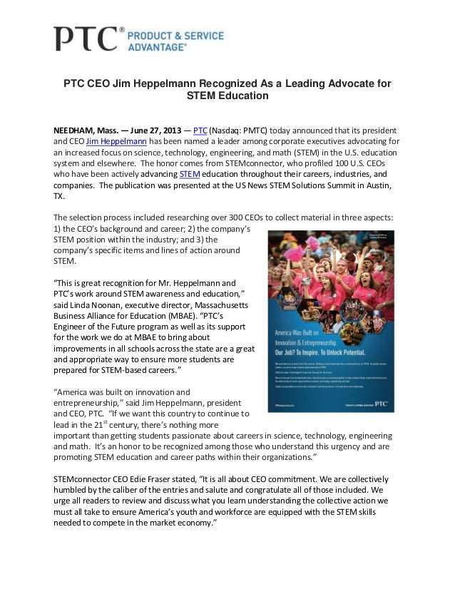 PTC CEO Jim Heppelmann Recognized as a Leading Advocate for STEM Education
