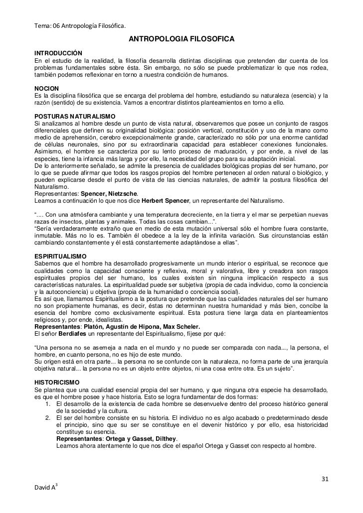 Tema: 06 Antropología Filosófica.                                    ANTROPOLOGIA FILOSOFICAINTRODUCCIÓNEn el estudio de l...