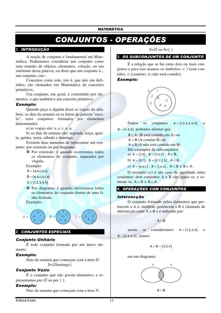 MATEMÁTICA                               CONJUNTOS - OPERAÇÕES 1. INTRODUÇÃO                                              ...