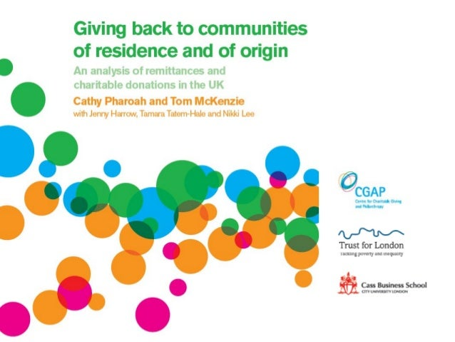 Giving back to communities of residence and of origin • Cathy Pharoah and Tom McKenzie • 10 May 2013Some data perspectives