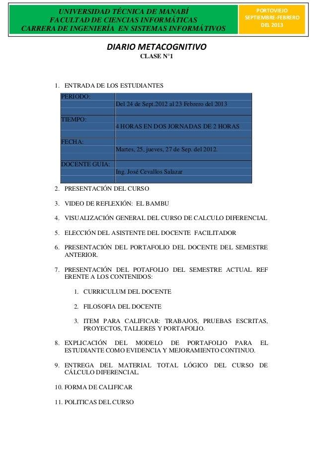 UNIVERSIDAD TÉCNICA DE MANABÍ                                    PORTOVIEJO      FACULTAD DE CIENCIAS INFORMÁTICAS        ...