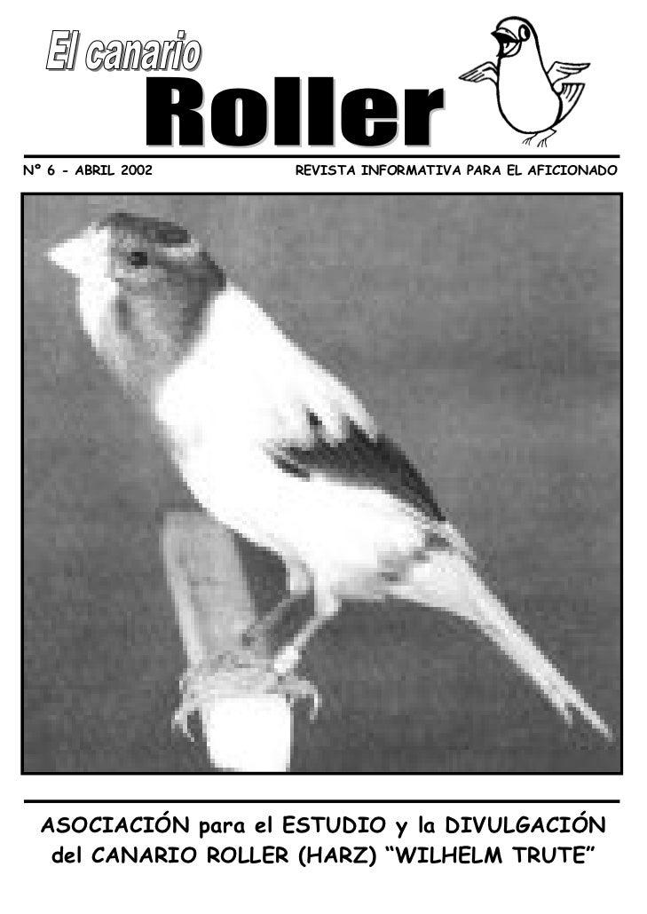 Nº 6 - ABRIL 2002    REVISTA INFORMATIVA PARA EL AFICIONADO  ASOCIACIÓN para el ESTUDIO y la DIVULGACIÓN   del CANARIO ROL...