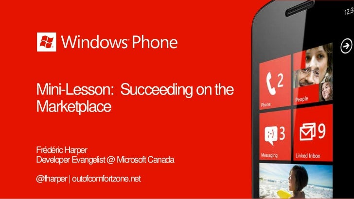 Windows Phone Code Camp Montreal - marketplace