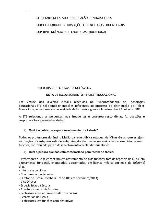 SECRETARIA DE ESTADO DE EDUCAÇÃO DE MINAS GERAIS SUBSECRETARIA DE INFORMAÇÕES E TECNOLOGIAS EDUCACIONAIS SUPERINTENDÊNCIA ...