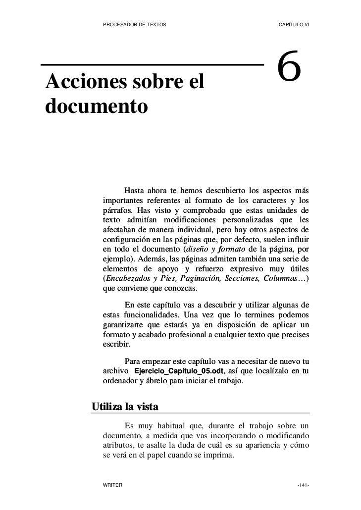 PROCESADOR DE TEXTOS                                CAPÍTULO VI     Acciones sobre el                                     ...