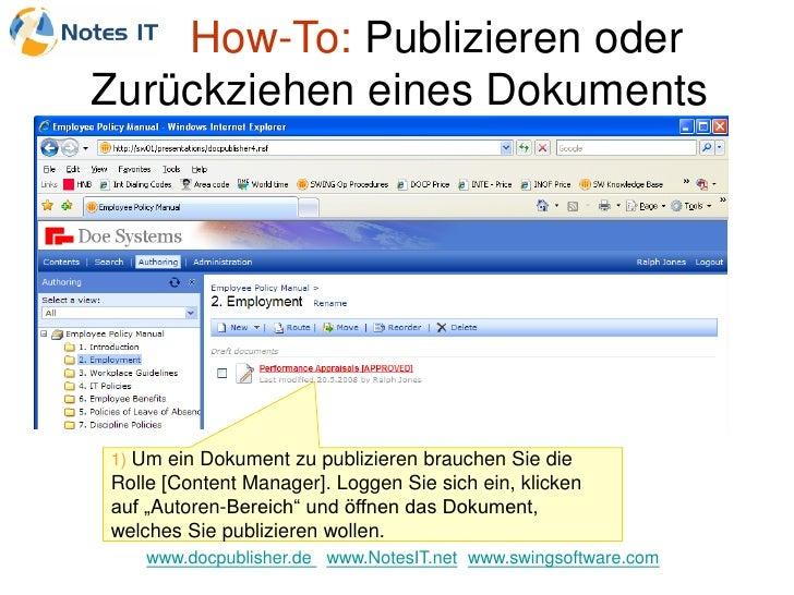 How-To: Publizieren oder Zurückziehen eines Dokuments     1) Um ein Dokument zu publizieren brauchen Sie die Rolle [Conten...