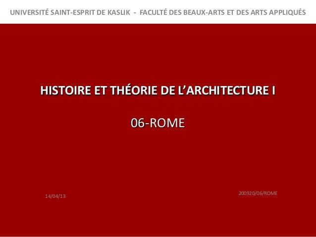 rome histoire de l'architecture