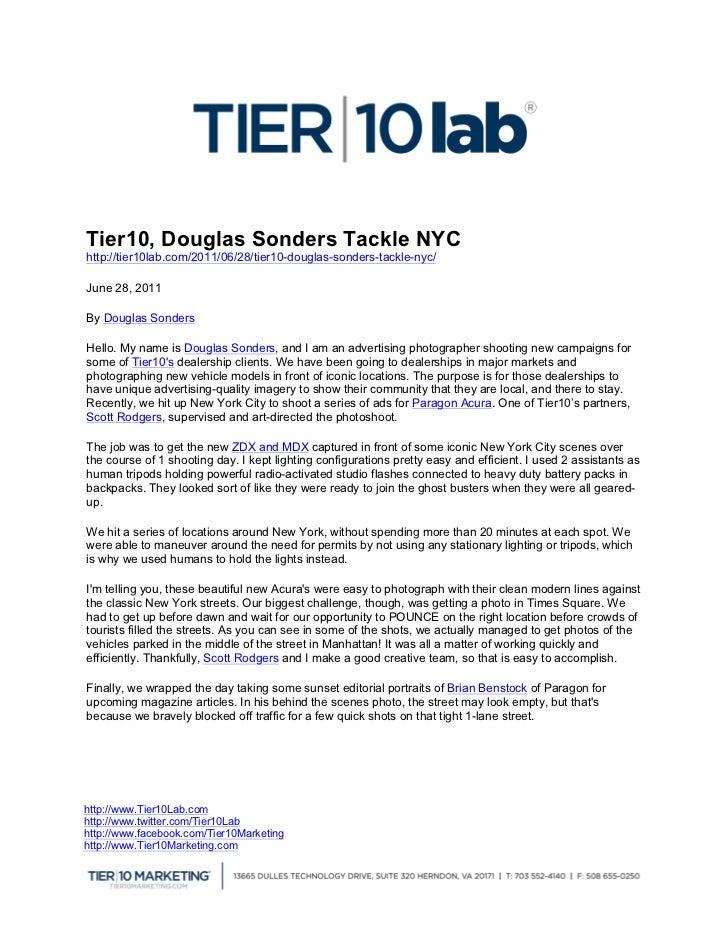 Tier10, Douglas Sonders Tack...