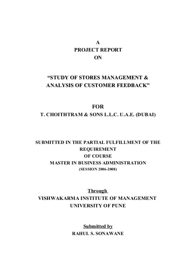 """A PROJECT REPORT ON """"STUDY OF STORES MANAGEMENT &""""STUDY OF STORES MANAGEMENT & ANALYSIS OF CUSTOMER FEEDBACK""""ANALYSIS OF C..."""
