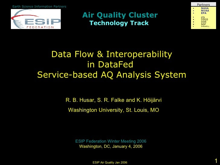 Air Quality Cluster Technology Track   Earth Science Information Partners Data Flow & Interoperability in DataFed  Service...