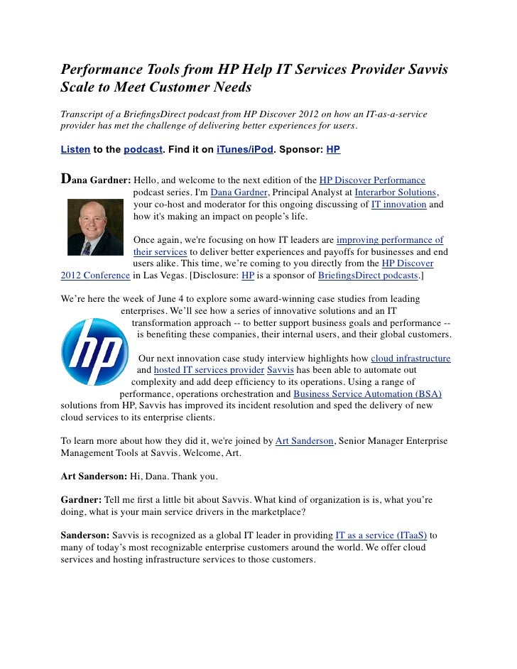 Performance Tools from HP Help IT Services Provider SavvisScale to Meet Customer NeedsTranscript of a BriefingsDirect podca...