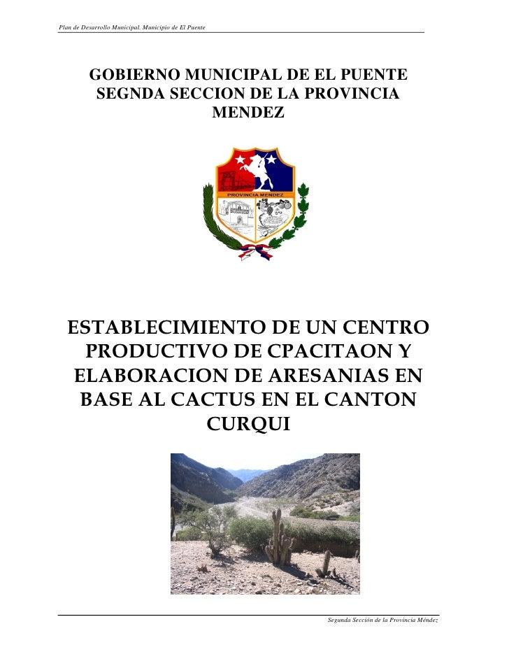 Plan de Desarrollo Municipal. Municipio de El Puente          GOBIERNO MUNICIPAL DE EL PUENTE           SEGNDA SECCION DE ...