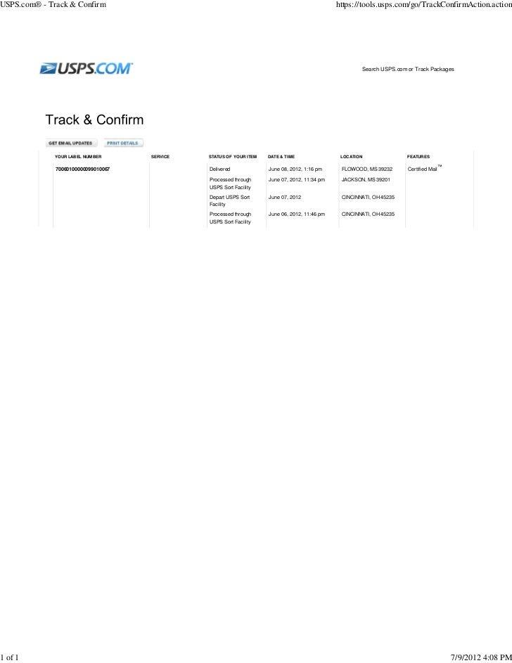 06/06/12 NOTICE OF LAWSUIT To Linda Thomas (PKH Matter)
