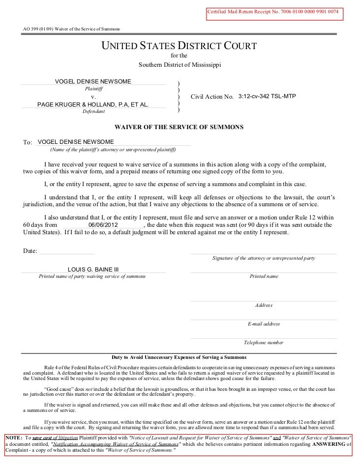 060612 waiver of service of summons (for lgbaine)   final
