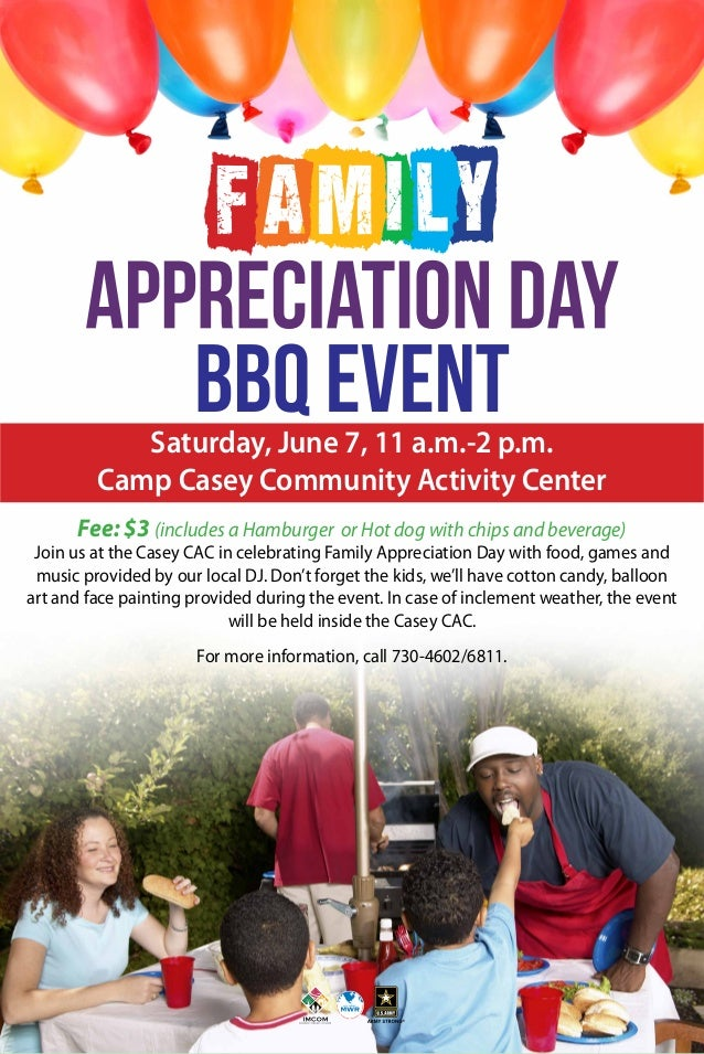 Saturday, June 7, 11 a.m.-2 p.m. Camp Casey Community Activity Center Fee: $3 (includes a Hamburger or Hot dog with chips ...