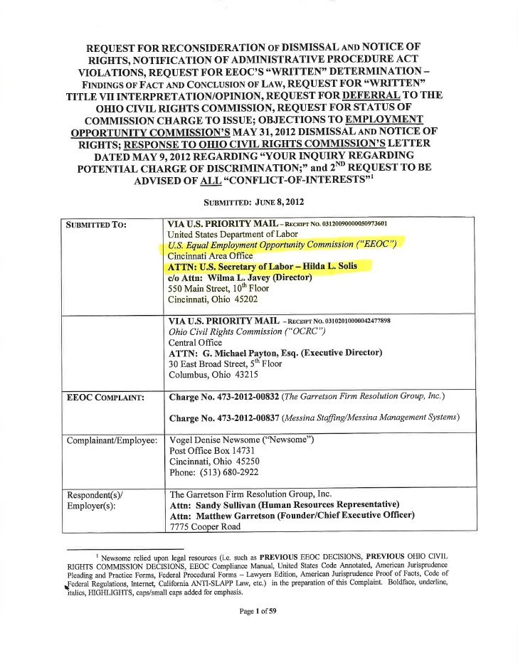 06/08/12 - EEOC Response To Dismissal & Notice Of Rights