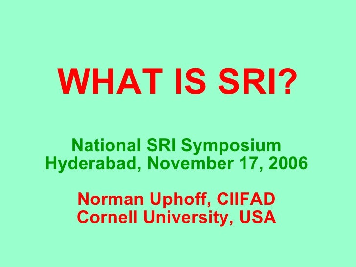 0609 What is System of Rice Intensification?