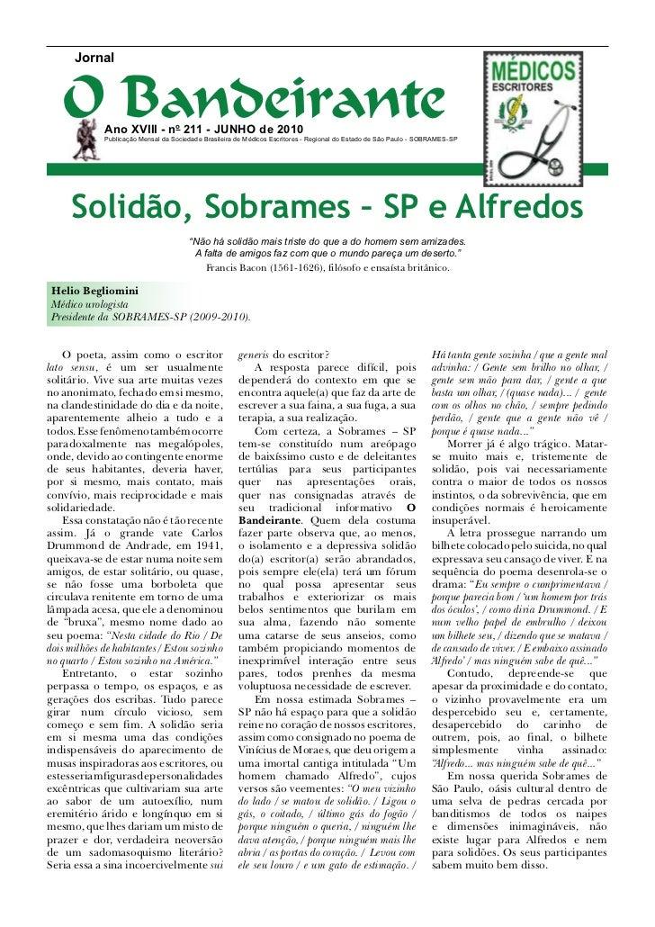 Jornal   O Bandeirante             Ano XVIII - no 211 - junho de 2010             Publicação Mensal da Sociedade Brasileir...