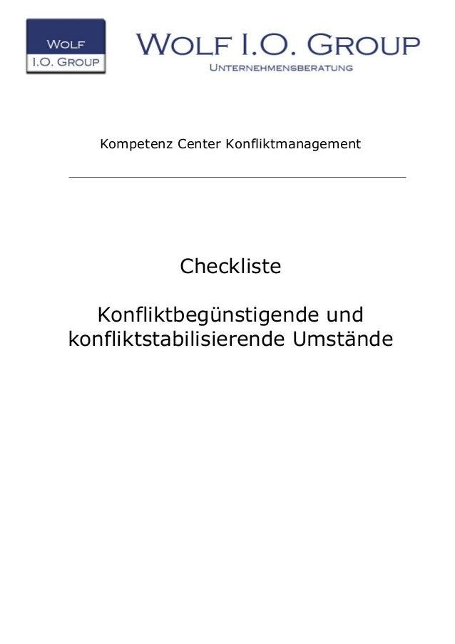 Kompetenz Center Konfliktmanagement Checkliste Konfliktbegünstigende und konfliktstabilisierende Umstände