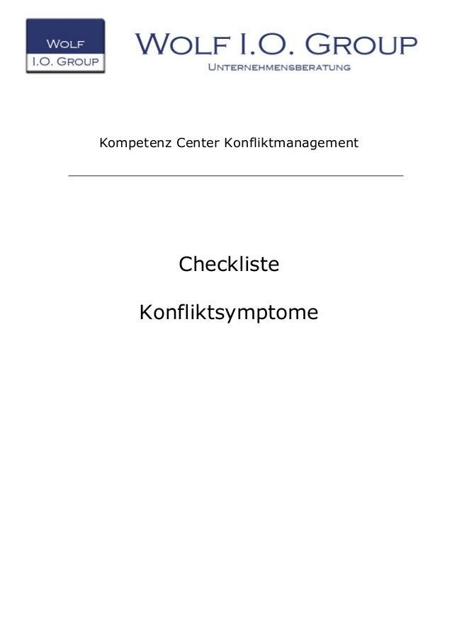 Kompetenz Center Konfliktmanagement Checkliste Konfliktsymptome