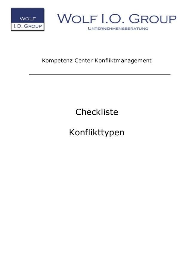 Kompetenz Center Konfliktmanagement Checkliste Konflikttypen