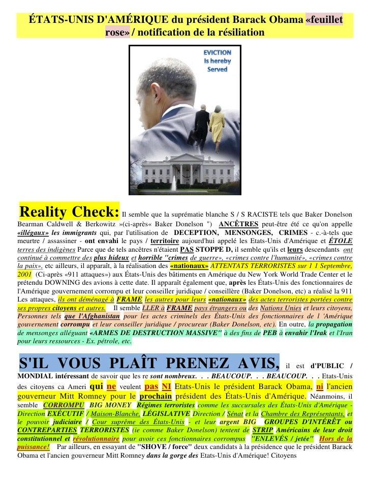 ÉTATS-UNIS DAMÉRIQUE du président Barack Obama «feuillet               rose» / notification de la résiliationReality Check...