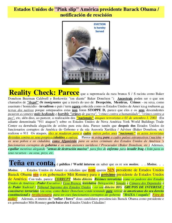 """Estados Unidos de """"Pink slip"""" América presidente Barack Obama /                        notificación de rescisiónReality Ch..."""
