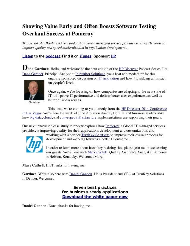 Showing Value Early and Often Boosts Software Testing Overhaul Success at Pomeroy