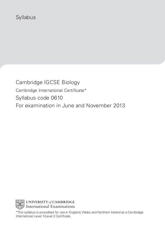 Biology Syllabus IGCSE 2013