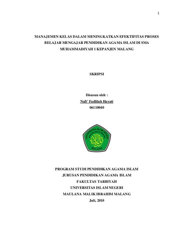 1MANAJEMEN KELAS DALAM MENINGKATKAN EFEKTIFITAS PROSES    BELAJAR MENGAJAR PENDIDIKAN AGAMA ISLAM DI SMA          MUHAMMAD...