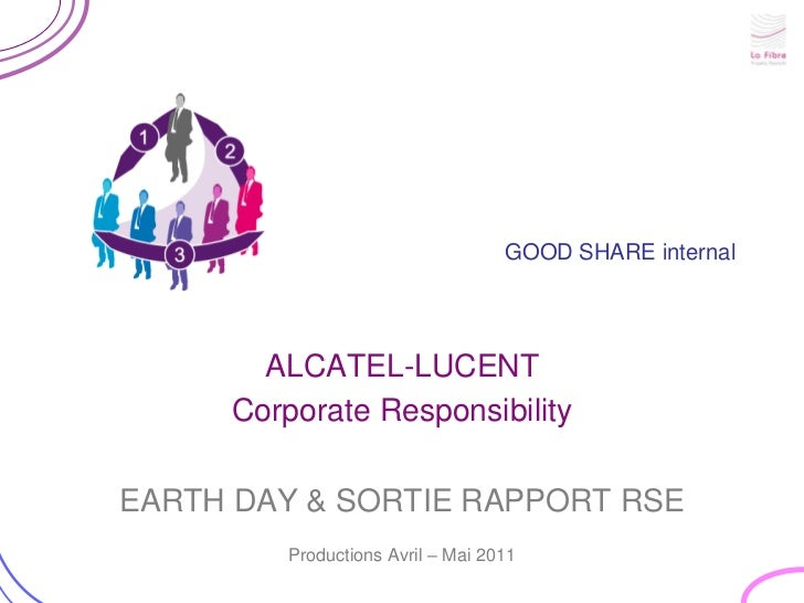 GOOD SHARE internal<br />ALCATEL-LUCENT<br />CorporateResponsibility<br />EARTH DAY & SORTIE RAPPORT RSE <br />Productions...
