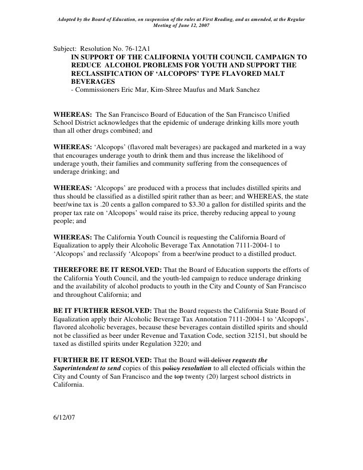 Adopted by the Board of Education, on suspension of the rules at First Reading, and as amended, at the Regular            ...