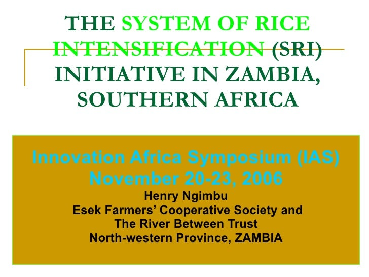 THE  SYSTEM OF RICE INTENSIFICATION   (SRI) INITIATIVE IN ZAMBIA, SOUTHERN AFRICA Innovation Africa Symposium (IAS) Novemb...