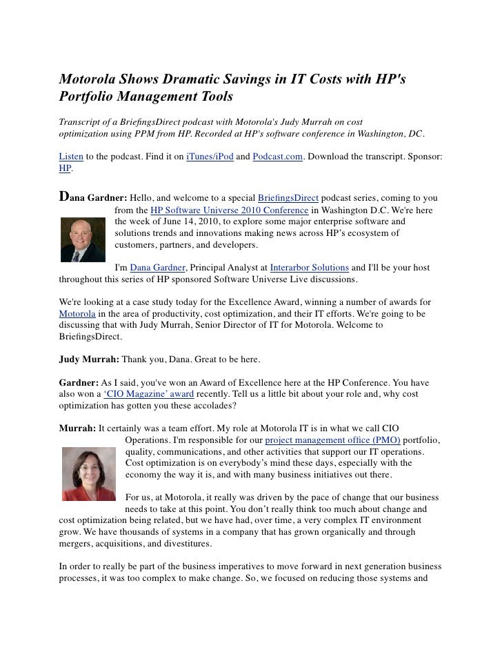 Motorola Shows Dramatic Savings in IT Costs with HP's Portfolio Management Tools